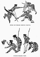 0120948 © Granger - Historical Picture ArchiveFIRST OPIUM WAR: SOLDIERS.   British soldiers in China fighting with Tartar soldiers (top) and foraging for food, at the time of the First Opium War, 1839-42. Wood engravings, English, c1844, after Chinese caricature drawings.