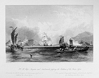 0120995 © Granger - Historical Picture ArchiveCHINA: BOCCA TIGRIS, 1831.   HMS Imogene and Andromache exchanging fire with Chinese forts in the Bocca Tigris, at the mouth of the Pearl River, on their way to Canton, China, 7 September 1831. Steel engraving, English, 1843, after a drawing by Thomas Allom.