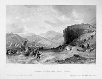 0120996 © Granger - Historical Picture ArchiveFIRST OPIUM WAR, c1841.   British troops landing at the entrance of the Jinjiang River in Fujian province, China, c1841, during the First Opium War. Steel engraving, English, 1843, after a drawing by Thomas Allom.