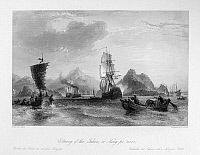 0120997 © Granger - Historical Picture ArchiveFIRST OPIUM WAR, c1841.   British warships in the estuary of the Yong River in the port of Ningbo, China, c1841, during the First Opium War. Steel engraving, English, 1843, after a drawing by Thomas Allom.