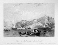 0120998 © Granger - Historical Picture ArchiveFIRST OPIUM WAR, 1842.   A British crew rescuing Chinese boatmen in Hangzhou Bay during the attack on Zhapu, China, 18 May 1842, during the First Opium War. Steel engraving, English, 1843, after a drawing by Thomas Allom.
