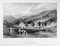 0120999 © Granger - Historical Picture ArchiveFIRST OPIUM WAR, 1842.   The death of Colonel Tomlinson during the British attack on the joss house at Zhapu, China, 18 May 1842, during the First Opium War. Steel engraving, English, 1843, after a drawing by Thomas Allom.