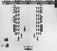 0121019 © Granger - Historical Picture ArchiveCHINA: ARMY DRILLS, c1900.   Troops of the Chinese imperial army in a ceremonial formation. Illustration, c1900.