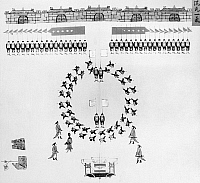 0121020 © Granger - Historical Picture ArchiveCHINA: ARMY DRILLS, c1900.   Troops of the Chinese imperial army in a ceremonial formation. Illustration, c1900.
