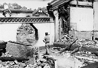 0121279 © Granger - Historical Picture ArchiveCHINA: ROYALIST COUP, 1917.   A view of the bombed out interior of General Chang Hsün's headquarters in the Forbidden City, Peking, China, photographed after Chinese government troops had defeated his attempt to restore Ching emperor P'u Yi to the throne, 12 July 1917.