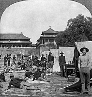0126723 © Granger - Historical Picture ArchiveCHINA: BOXER REBELLION.   Members of the Ninth U.S. Infantry in camp in the courtyard of the Forbidden City in Peking, China, after taking part in the suppression of the Boxer Rebellion, 1900. Stereograph.