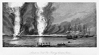 0259837 © Granger - Historical Picture ArchiveFIRST OPIUM WAR, 1841.   Battle of First Bar in the Canton River in China during the First Opium War, 27 February 1841. Engraving, 1843.