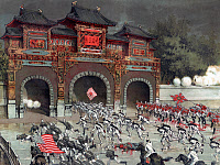 0622199 © Granger - Historical Picture ArchiveCHINA: BOXER REBELLION.   American, British and Japanese troops storming the imperial Pekin castle in Beijing, China, 14 August, 1900. Chromolithograph by Torojiro Kasai, 1900.