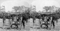 0622231 © Granger - Historical Picture ArchiveCHINA: BOXER REBELLION.   The 9th U.S. Infantry Gatling gun detachment in the Forbidden City in Beijing, during the Boxer Rebellion in China. Stereograph, c1900.