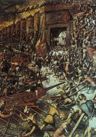 0408183 © Granger - Historical Picture ArchiveCRUSADES: CONSTANTINOPLE.   The conquest of Constantinople by Venetians and Crusaders during the Fourth Crusade, 1204. Painting at the Doge's Palace in Venice.