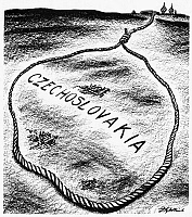 0033421 © Granger - Historical Picture ArchiveCZECHOSLOVAKIA, 1947.   'When the Time is Ripe.' American cartoon by D.R. Fitzpatrick, 1947, on the tightening Communist noose around the independent republic.