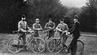0354044 © Granger - Historical Picture ArchiveROYAL CYCLISTS, 1893.   Left to right: Prince Valdemar of Denmark; Czarevitch Nicholas II of Russia; Prince George of Greece; Prince Nicholas of Greece; and Prince Carl of Denmark. Photographed at Fredensborg, Denmark, 1893.