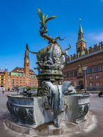 0620296 © Granger - Historical Picture ArchiveCOPENHAGEN: CITY HALL SQUARE, c2013. The dragon fountain in City Hall Square, Copenhagen, Denmark. Photograph, c2013. Full Credit: ullstein bild - AllOver / Granger, NYC. All Rights Reserved.
