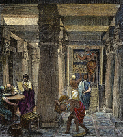 0009886 © Granger - Historical Picture ArchiveALEXANDRIA: LIBRARY.   Reconstruction of a hall in the great library in Alexandria, Egypt, founded at the beginning of the 3rd century B.C. Color wood engraving, German, 19th century.