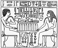 0012129 © Granger - Historical Picture ArchiveEGYPT: SEND INSCRIPTION.   The main panel of the Send inscription, c4,000 B.C., the oldest written record. At left is S'era, a priest and relative of Send, king of the Second Dynasty. Opposite is a seated woman. The hieroglyphics depict incense, dates, wine, loaves, linen, and other offerings to the king.