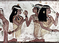 0021688 © Granger - Historical Picture ArchiveEGYPTIAN TOMB PAINTING.   Ladies holding mandrake fruit, and a smelling lotus blossom. Tomb painting. 18th Dynasty.