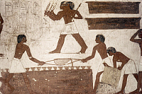 0024625 © Granger - Historical Picture ArchiveEGYPTIAN FRESCO   of foundrymen casting bronze doors, from Tomb of Vizier Rekhimire, 18th Dynasty.