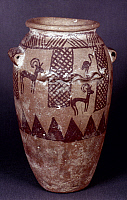 0028545 © Granger - Historical Picture ArchiveEGYPTIAN CLAY POT.   An Egyptian clay pot painted with flamingos and ibexes. End of 4th millenium B.C.