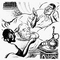 0034168 © Granger - Historical Picture ArchiveEGYPT: SUEZ CRISIS, 1956.   'Salome.' British cartoon by Leslie Gilbert Illingworth, 1956, comparing President Gamal Abdel Nasser to the Biblical Salome, who demanded the head of John the Baptist. Nasser is shown receiving the head of British Prime Minister Anthony Eden, in retribution for Britain's decision to bomb Egyptian airfields.