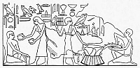 0036668 © Granger - Historical Picture ArchiveANCIENT EGYPT: FISH DEALER.   A fish dealer cleaning a fish while he haggles about the price with his customer. Drawing after a fresco in a tomb at Sakkarah, Egypt. Old Kingdom, c2500 B.C.
