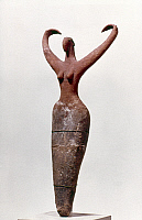 0041089 © Granger - Historical Picture ArchiveEGYPTIAN FIGURE.   Figure of a woman, found at Mamarija. Painted clay, 4th millenium B.C.