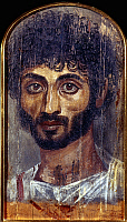 0049848 © Granger - Historical Picture ArchiveEGYPT: FUNERAL PORTRAIT.   Portrait of a man painted on a wooden board attached to the mummy, from Fayum, Egypt, 2nd century A.D.