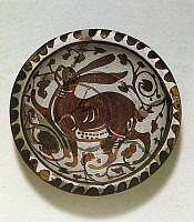 0076537 © Granger - Historical Picture ArchiveARAB POTTERY, 11th CENTURY.   Bowl depicting a hare. Tin-glazed earthenware, Egypt, 11th century, Fatimid period.