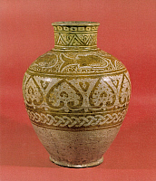 0076540 © Granger - Historical Picture ArchiveARAB POTTERY, 12th CENTURY.   Luster-painted ceramic jar, Egypt, 1100-1150, Fatimid period.