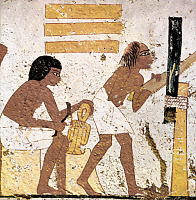0077854 © Granger - Historical Picture ArchiveANCIENT EGYPT: CARPENTERS.   Carpenters at work: detail from an Egyptian tomb painting, Thebes, c1350-1300 B.C.