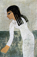 0077857 © Granger - Historical Picture ArchiveGIRL OF ANCIENT EGYPT   A girl picking flax. Detail from a tomb painting, Thebes, c1415 B.C.