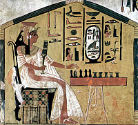 0077858 © Granger - Historical Picture ArchiveANCIENT EGYPT: SENET.   Queen Nefertari playing senet, one of the oldest known board games. Fresco from the tomb of Nefertari, Thebes, 13th century B.C.