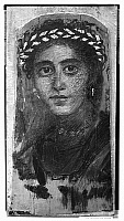 0115859 © Granger - Historical Picture ArchiveROME: FUNERAL PORTRAIT.   Portrait of a woman, painted on a wooden board attached to a mummy, from Fayum, Egypt, 2nd century A.D.