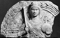 0115860 © Granger - Historical Picture ArchiveEGYPT: COPTIC FIGURE.   Christian figure representing either Hagia Sophia (Holy Wisdom), or an Archangel. Stone relief, Egyptian, 5th century A.D.
