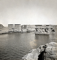 0129539 © Granger - Historical Picture ArchiveEGYPT: TEMPLE OF PHILAE.   The Temple of Philae and Trajan's Kiosk on the flooded island of Philae in the Nile River. Stereograph, c1908.