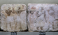 0129697 © Granger - Historical Picture ArchiveEGYPT: PUNT RELIEF.   Scene from a voyage to the land of Punt, with the Queen of Punt depicted second from right. Pair of consecutive fragments of a limestone relief from the funerary temple of Queen Hatshepsut at Deir el-Bahri, Thebes, Egypt, 18th Dynasty.