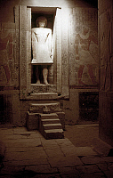 0131375 © Granger - Historical Picture ArchiveEGYPT: TOMB OF MERERUKA.   Interior view of the mastaba (tomb) of Mereruka, vizier during the reign of Teti, showing a false door with a statue of Mereruka. Saqqara, Egypt, 6th Dynasty, 24th century B.C. Photographed by Eliot Elisofon, c1960.