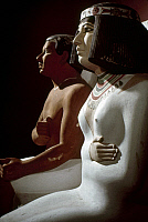0132680 © Granger - Historical Picture ArchiveEGYPT: ROYAL COUPLE.   Painted limestone statues of Prince Rahotep, son of King Snefru, and his wife, Princess Nofret. 4th Dynasty. Photographed by Eliot Elisofon.