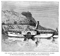 0354040 © Granger - Historical Picture ArchiveNILE EXPEDITION, 1884.   A Nile steamer fitted as a gunboat, off the coast of Elephantine Island during the Nile Expedition to relieve Major-General Charles George Gordon at Khartoum, Sudan. Engraving, English, 1884.