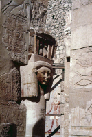0354807 © Granger - Historical Picture ArchiveEGYPT: HATSHEPSUT TEMPLE.   Statue of Hathor, the cow-headed god of fertility, at the 18th Dynasty Temple of Hatshepsut at Deir-el-Bahri, Thebes, Egypt. Photograph, c1907.