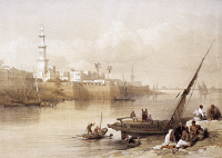 0526280 © Granger - Historical Picture ArchiveEGYPT: CAIRO, c1838.   The Giza ferry in the port of Cairo. Lithograph by Louis Haghe, after a painting by David Roberts, c1838.