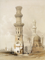 0526284 © Granger - Historical Picture ArchiveEGYPT: MINARET, c1838.   The ruins of a minaret near the Citadel. Lithograph by Louis Haghe, after a painting by David Roberts, c1838.