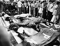 0094818 © Granger - Historical Picture ArchiveEL SALVADOR: PROTESTORS.   Bodies of protestors killed by police during an anti-government demonstration in San Salvador, 1979.