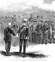 0002656 © Granger - Historical Picture ArchiveFRANCE: SURRENDER, 1870.   General Reilly of France bearing his army's surrender to King William I of Prussia following the Prussian victory at Sedan, 2 September 1870, during the Franco-Prussian War. Wood engraving from a contemporary newspaper of 1870.