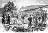 0002657 © Granger - Historical Picture ArchiveBATTLE OF SEDAN, 1870.   After the surrender: masses of French prisoners under Prussian guard after the French defeat at the Battle of Sedan, 2 September 1870, during the Franco-Prussian War. Wood engraving, American, 1870.