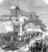 0002661 © Granger - Historical Picture ArchiveSIEGE OF PARIS, 1871.   Bringing the ship guns to the buttes of Montmartre during the Prussian attack on Paris, France, January 1871, during the Franco-Prussian War. Wood engraving from a contemporary English newspaper.
