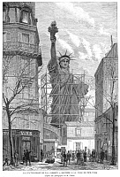 0003070 © Granger - Historical Picture ArchiveSTATUE OF LIBERTY, 1884.   Wood engraving from a French newspaper of 1884.