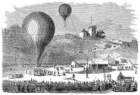 0003212 © Granger - Historical Picture ArchivePARIS: POST-BALLOON, 1870.   Departure from Montmartre of a post-balloon at Place Saint-Pierre during the Franco-Prussian War. Wood engraving, French, 1870.