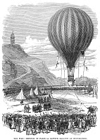 0003213 © Granger - Historical Picture ArchivePARIS: BALLOON, 1870.   Defense of Paris: a captive balloon at Montmartre used for observation by Prussian forces during the Franco-Prussian War. Wood engraving from an English newspaper of 1870.