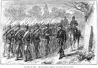 0003215 © Granger - Historical Picture ArchiveSIEGE OF PARIS, 1870.   The 24th Prussian Regiment returning from the Siege of Paris during the Franco-Prussian War. Wood engraving from an English newspaper of 1870.