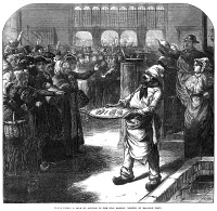 0003216 © Granger - Historical Picture ArchivePARIS: FISH MARKET AUCTION.   Franco-Prussian War of 1870-71. A sale by auction in the fish market at Paris during the German siege of the city. Wood engraving from an English newspaper of 1870.